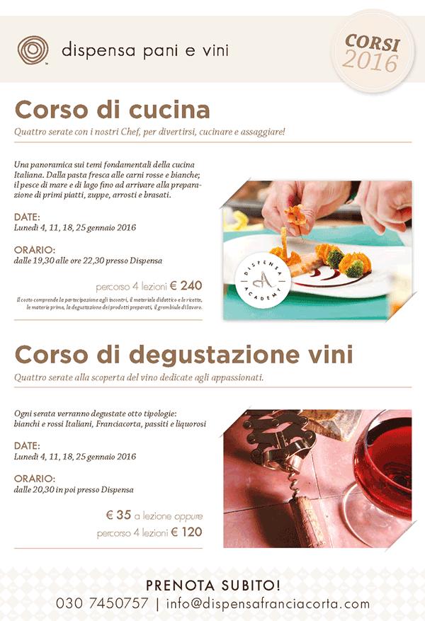 Dispensa Corso di Cucina e Corso di Degustazione Vini